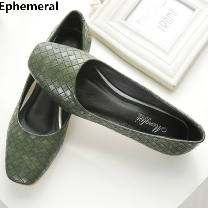 Ladies ballet flats soft sole square toe shoes women low top slip-on breathable loafers casual plus size 43-34 green Ephemeral summer slip ons 45 46 9 women shoes for dancing pointed toe flats ballet ladies loafers soft sole low top gold silver black pink