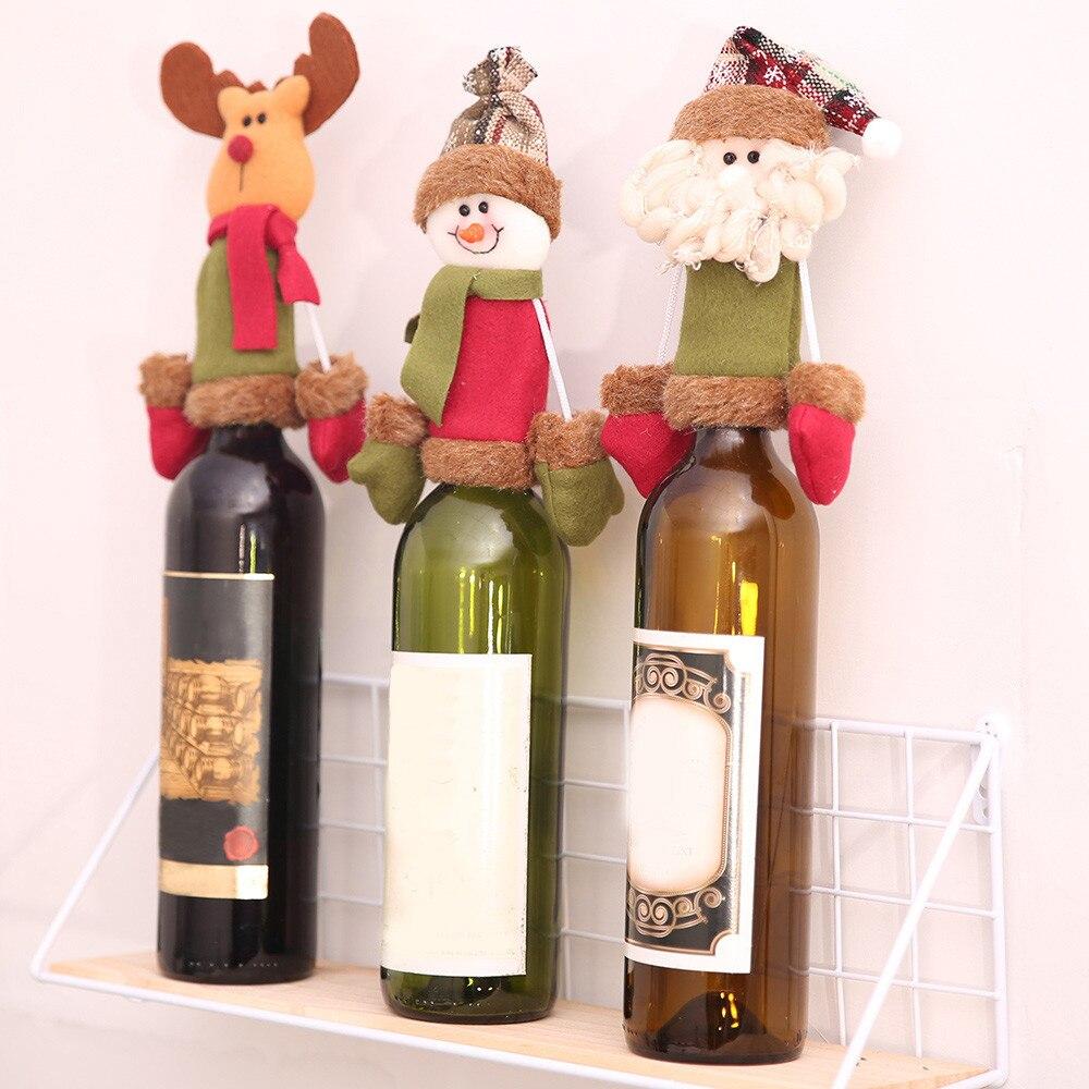 Kerst Kerstman Sneeuwpop Herten Wijnfles Cover Kerstcadeau Speelgoed Pop Xmas Party Tafel Decoratie Nieuwe Jaar Levert