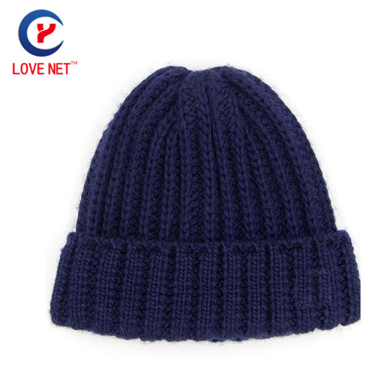 2017 New arrival women thick winter beanies dark blue Knitted hat Warm thicken wool Knitting edgefold caps DS20170126 x27 the new children s cubs hat qiu dong with cartoon animals knitting wool cap and pile
