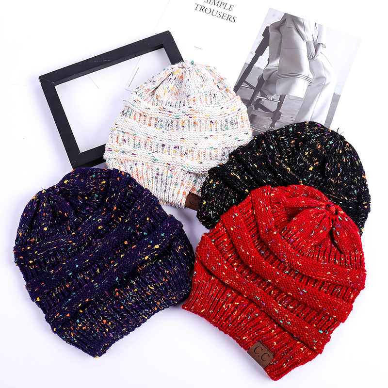Fashionable Knitted Horsetail Caps Color Dotted Knitted Caps Warm Winter Woolen Hat
