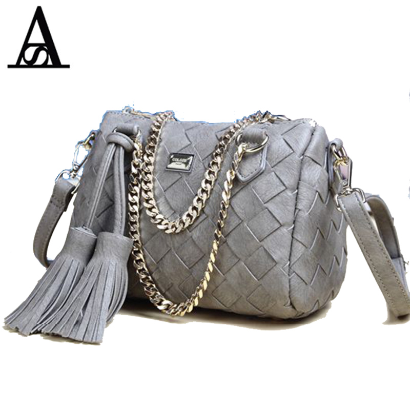 AITESEN Women Woven Handbag Style Tide Tassel Fashion Chain Single Shoulder Messenger Bag Pillow Sac A Main Bandouliere Femme 2016 hot style horizontal women leisure canvas stripe handbag mix single shoulder bag handbag chain wave packet