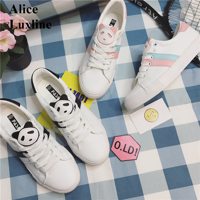 2017 Summer women white shoes cute panda lace up shoes breathable students flat casual shoes shallow Walking Shoes 35-39 RU IL fashion embroidery flat platform shoes women casual shoes female soft breathable walking cute students canvas shoes tufli tenis