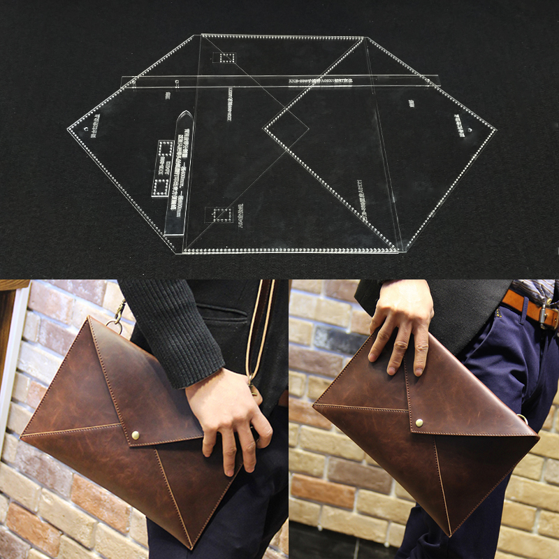 Handmamde Man Briefcase Acrylic Template Leather Pattern DIY Hobby Leathercraft Sewing Pattern Stencils 31x23x1cm