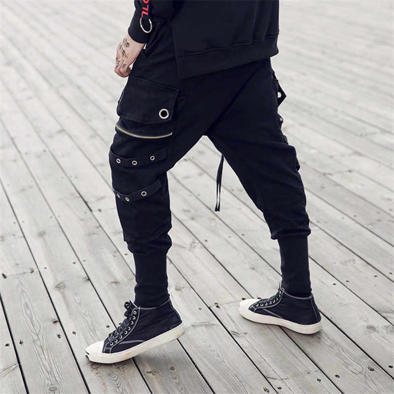 781038a724ae ... Заклепки на ленте боковые карманы шаровары Pnats Для мужчин 2017, Новая  Мода High Street Для ...