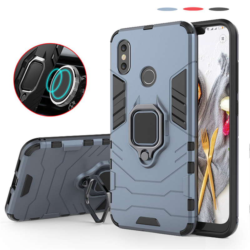 Magnetic Shockproof Armor Phone Case For <font><b>xiaomi</b></font> mi 8 Luxury Car Ring Holder Stand silicone tpu Hard Back Cover For xiomi m8 <font><b>mi8</b></font> image