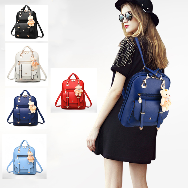 2016 New Casual PU Fashion Women Backpack School Travel Bag With Bear Doll For Teenagers Girls