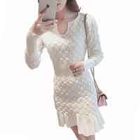 New Style Women Ribbed Trims Fishtail Knitted Sweater Dresses White Blue Black Long Sleeve Skinny Office