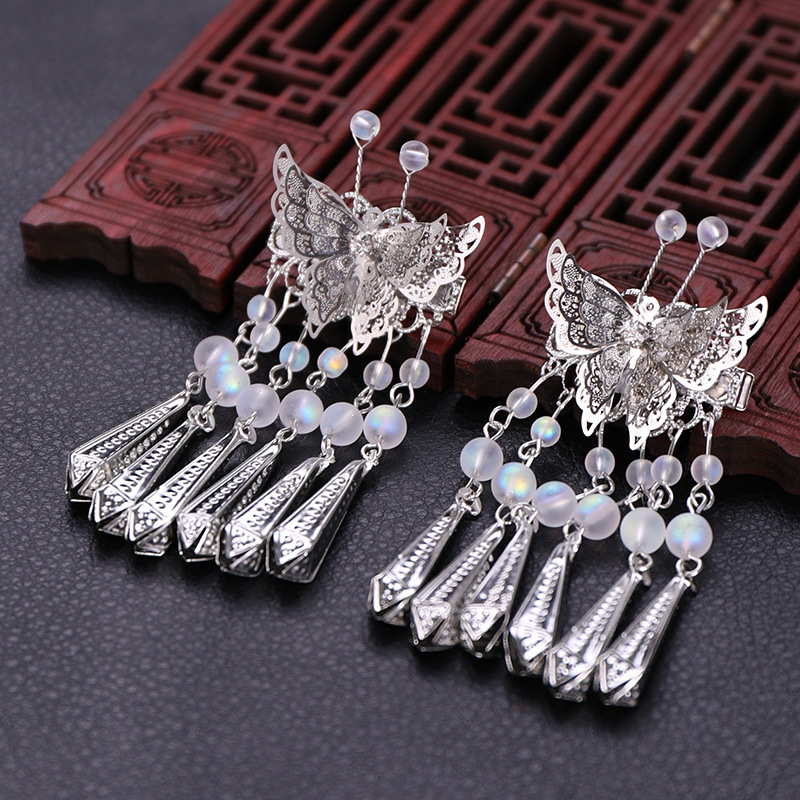 Kid Headwear Hollow Butterfly Wind Chimes Tassel Hairpin Scorpion Headdress Wedding Flower Girl Side Clip Wedding Accessories