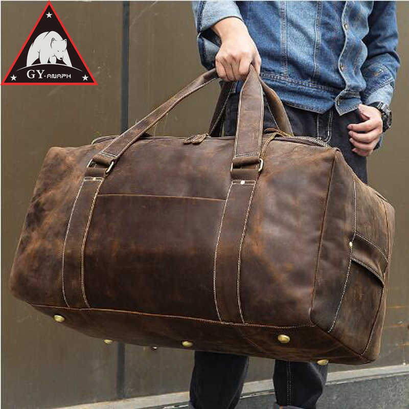 59472e04b0 ANAPH Men Crazy Horse Leather Travel Bag Leather Big Weekend Bag Genuine Leather  Duffle Bag Zip