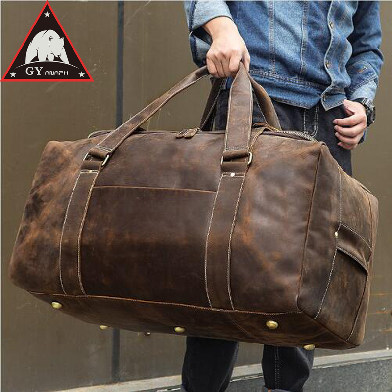ANAPH Men Crazy Horse Leather Travel Bag Leather Big Weekend Bag Genuine Leather Duffle Bag Zip-around Women Hand Luggage Bag браслет hand around hand around ha021dmzgk43