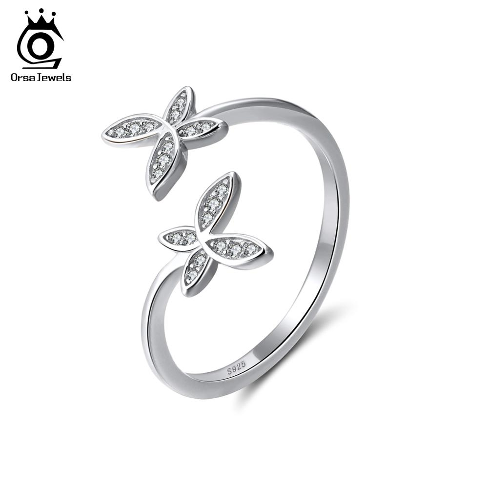 ORSA JEWELS Fashion Sølv 925 Justerbare Ringer Blomster Design Sterling Sølv Ring Med Østerriksk Cubic Zirconia For Women SR10