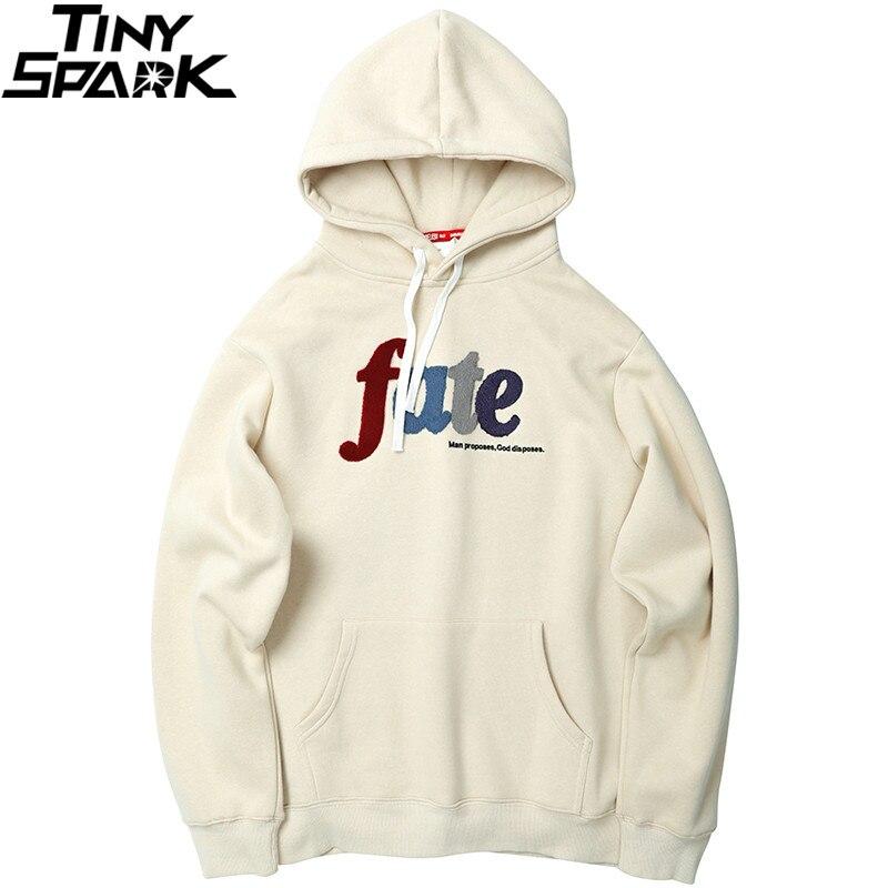 Men Hip Hop Hoodie Sweatshirt Embroidery Letters Harajuku Hooded Pullover Streetwear Cotton Autumn 2019 Hoodie Loose Style White