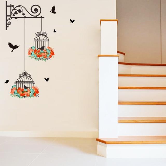 Colorful Flower birdcage flying birds wall sticker Creative home decor living room Decals wallpaper bedroom nursery window decor 4
