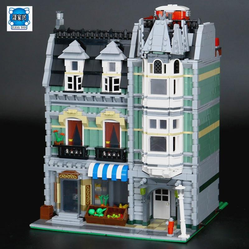 LEPINE 2462Pcs New City Street Green Grocer Model Building Kit Blocks Bricks Toy Educational Compatible Funny Gift колонка interstep sbs 150 funny bunny light green