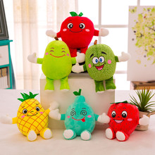 New Fruits Vegetables Plush Toys Cantaloupe Pear pineapple Strawberry Apple Lime Lemon Soft Plush Toys Halloween Gifts Christmas
