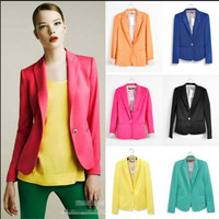 Hot Blazer Women New 2017 Candy Color Jackets Suit Slim yards Ladies Blazers Work Wear Jacket 1