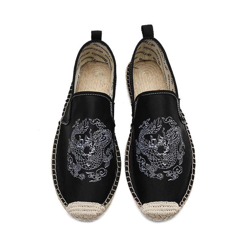 VKERGB Lente Mannen Casual mannen Canvas Schoenen Linnen Flats Casual Schoenen Ademend Hoge Kwaliteit 2018 herfst mannen Totem linnen schoenen