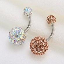 Fashion Surgical Steel Belly Button Rings Crystal Rhinestone Ball Piercing Navel Ring Piercing ombligo Body Jewelry Shellhard цена и фото