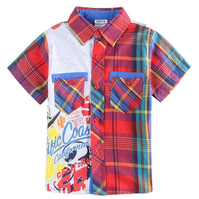 d8ac26e8da3 2018 jersey boys shirts brand roupa infantil kids shirt plaid short letter  printing children wear boys clothes for summer