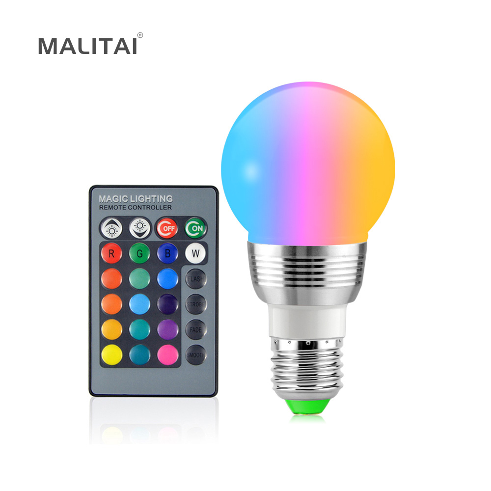 1Pcs 16 Colors Dimmable RGB LED Magic Bulb E27 7W 85V- 265V lamp For Holiday Decor Atmosphere Night light + IR Remote Controller