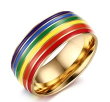 Lesbian Jewelry finger ring LGBT ring Pride golden Rainbow Gay Lovers 1 pcs titanium steel