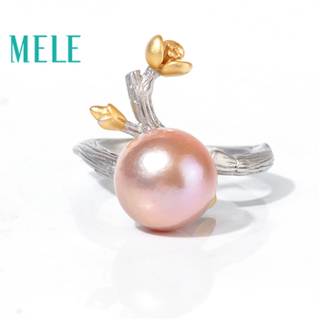 Natural freshwater pearl 925 sterling silver rings for women,11mm round pearl plant flower shape fashion and trendy jewelry