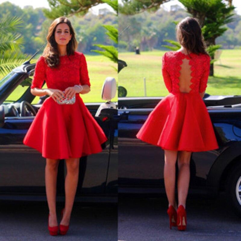 Charming Red Short Prom Dress Graduation Dress 2016 Half Sleeve Open