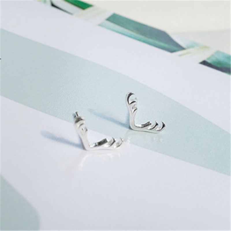 925 sterling silver earrings Pure and fresh and antlers Retro earrings Women 39 s fashion jewelry wholesale allergy in Stud Earrings from Jewelry amp Accessories
