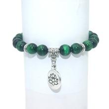 Натуральный камень Бусины «Лотос» Браслет Лазурит Амазонит Агаты мала бусины браслеты для женщин мужчин Йога браслет Femme