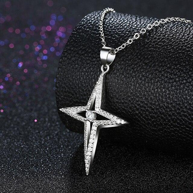 Небо Дизайн стерлингового серебра 925 Polaris четыре звезды романтический длинное колье цепи аксессуары ожерелья & подвески изящных ювелирных изделий