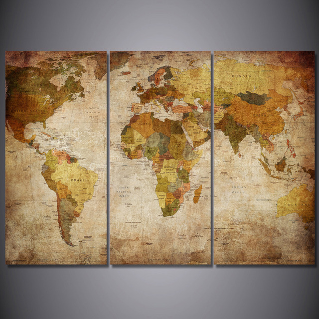 HD printed 3 piece canvas art vintage world map painting room decor ...
