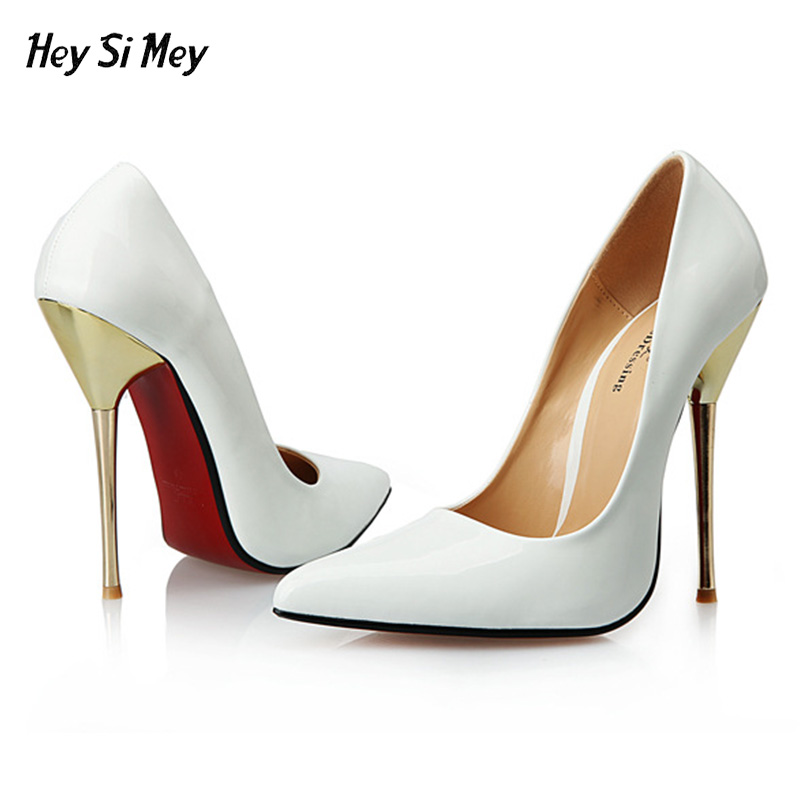 various colors 1fa1f 29feb 2018 Women High Heels Wedding Shoes Red Bottom Sexy Pointed Shoe Super High  Thin Spike heel Female Ladies white black 14CM Pumps