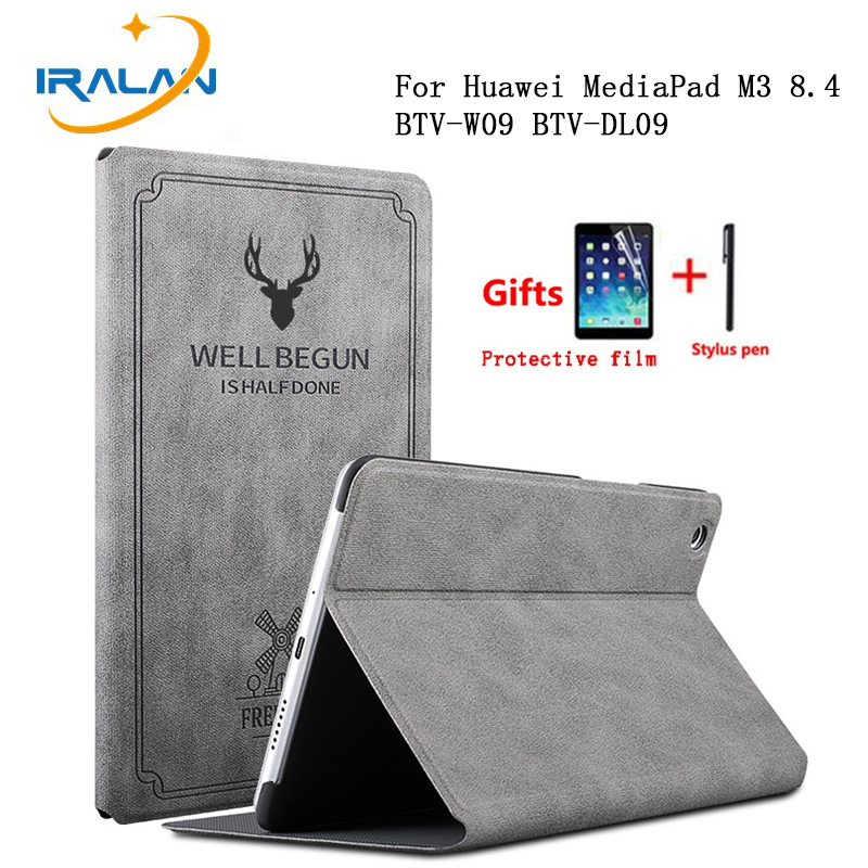 Matte Stand Flip Cover For Huawei MediaPad M3 8.4 BTV-W09 BTV-DL09 Case Leather Smart Auto Wake Sleep Retro Slim Shell film+pen