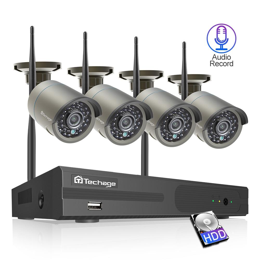 Techage 4CH 1080P Wireless NVR Wifi Security Camera System 2MP Audio Sound Outdoor CCTV IP Camera