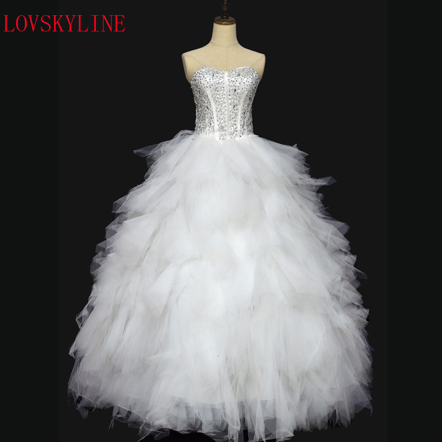 New Arrive Tube Top Luxury Full Rhinestone Royal Layered Dress Multi-layer Wedding Dress Formal Dress
