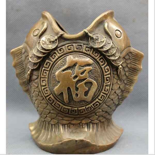 Scy shun3003 + + +中国ブロンズ銅富コインfu 2魚の頭像ブラシポット鉛筆花瓶
