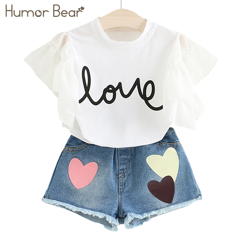 Humor Bear Kids Clothes Girls Clothes Summer Fashion Style Kids Clothing Sets Short T-shirt+Short Pants 2Pcs for Girls Suirt ...