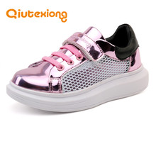 QIUTEXIONG Children Shoes Girls Boys Shoes Hook&Loop Anti-Slippery Sneaker Kid Casual Shoe For Sport School Running Fashion Mesh
