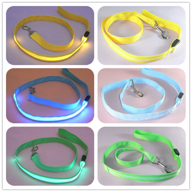 120cm Nylon Pet LED Dog Leash Night Safety LED Flashing Glow LED Pet Supplies Cat  Dogs Drawing Small  Leads for LED Dog Collar