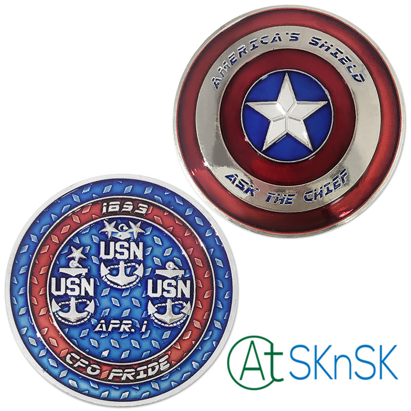 Wholesale 50/100pcs Captain America Shield Character Collectible Challenge Coin Silver Plated Navy US Coin collectibles Gift