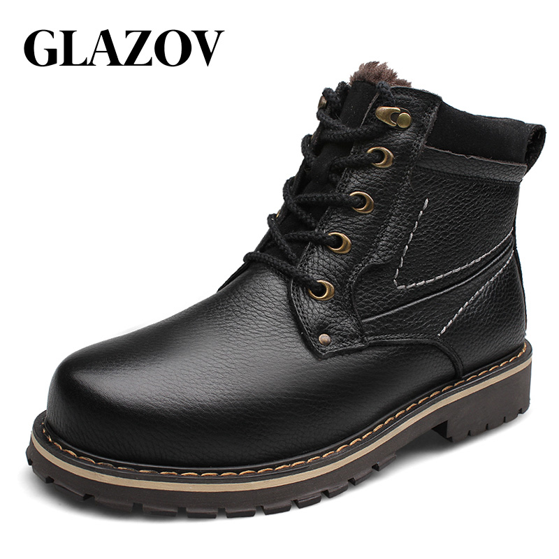 GLAZOV Brand Plus Size 37-52 Genuine Leather Men Boots Man Shoes With Fur Male Winter Boots Warm Snow Boots Waterproof Work
