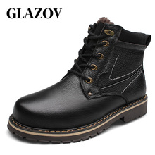 GLAZOV Brand Plus Size 37-52 Genuine Leather Men Boots Man Shoes With