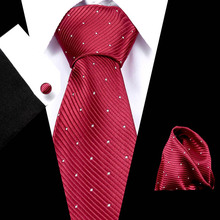 Men`s Tie 100% Silk Red Plaid Jacquard Woven Wedding  Hanky Cufflinks Set Neck For Men Business Party