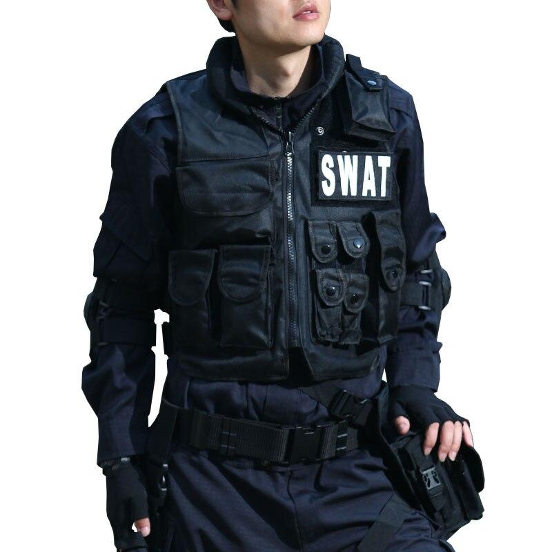 Chaleco táctico militar negro SWAT FBI policía Chaleco de alta calidad Magic Stick CS Molle Chaleco de combate protector equipo de policía BE1