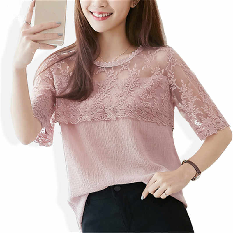 2018 Summer Chiffon Blouse Women Lace Shirt Sexy Half Sleeve Womens Tops Casual Elegant Female Blouses feminina Blusa 676F 30