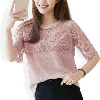 fc98aa49597 2018 летние Шифоновая блузка Для женщин Кружевная рубашка короткий рукав  сексуальный Для женщин s Топы Повседневное