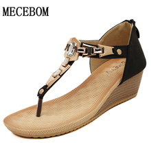 2016 Women's Fashion Beaded Wedges Flip-Flop Slippers Rhinestone Platform Crystal Summer Sandals