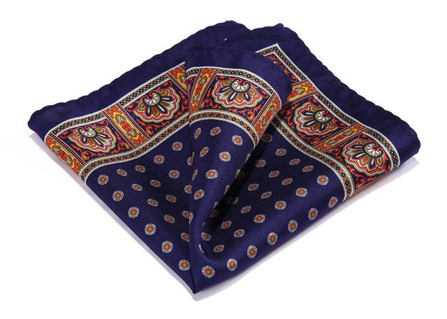 Hn36v naranja azul marino HISDERN pañuelo 100% de satén de seda Natural para hombre del pañuelo de moda banquete de boda Classic Pocket Square