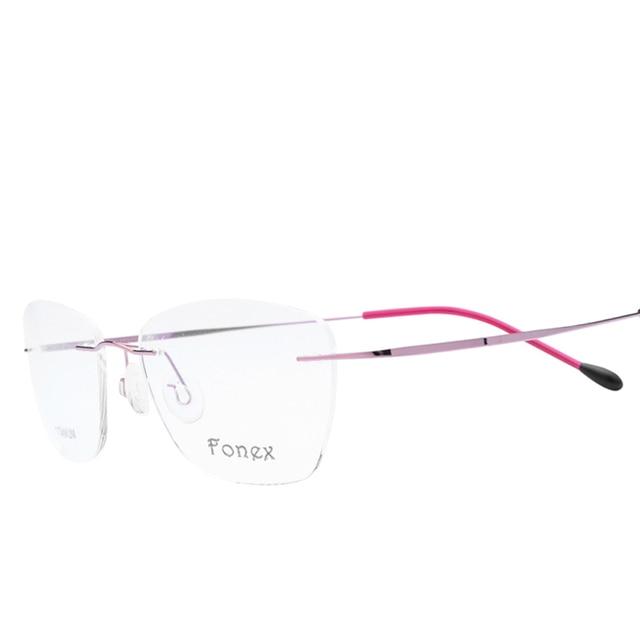 9b175e5e268 2017 no Screw Prescription Reading Myopia Cat Eye Glasses Frame Women  Rimless Titanium Eyeglasses Optical Frame