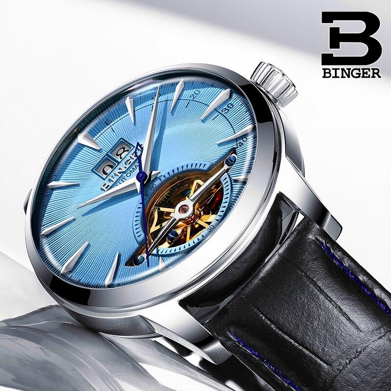 Suisse BINGER hommes montres Top marque de luxe Tourbillon montre automatique hommes auto-vent mode mécanique montre-bracelet reloj